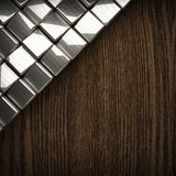 Wooden background with metal element Royalty Free Stock Images