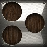 Wooden background with metal element Royalty Free Stock Photography