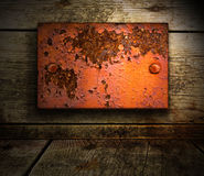 Wooden background with metal insert Stock Image