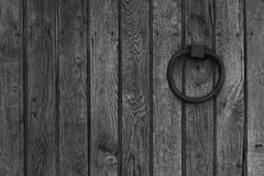 Wooden background with metal ring Royalty Free Stock Photography
