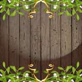 Wooden background with mistletoe Stock Photo