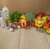 Wooden Background with Organic Vegetables on the Side Stock Photo