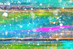 A wooden background painted in colors. Blank abstract background with falling snow effect Royalty Free Stock Photo