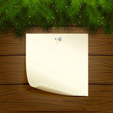 Wooden background with paper. Wooden background with branches of Christmas tree and paper, illustration Stock Photos