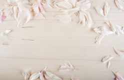 Wooden background with petals Royalty Free Stock Photography