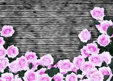 Wooden background with pink roses Stock Photo