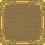 Wooden background. Wooden planks background witg golden frame Stock Image