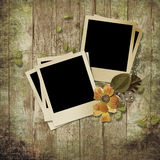 Wooden background with polaroid frames Royalty Free Stock Photography