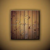 Wooden background on puzzle Stock Photography