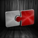 Wooden Background On Puzzle. Royalty Free Stock Image