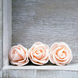 Wooden background with roses Stock Photography