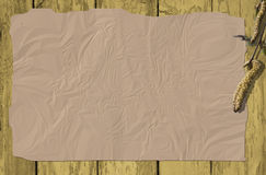 Wooden background with ruffle paper and a willow Royalty Free Stock Photos