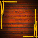 Wooden Background with Ruler Frame Royalty Free Stock Photo