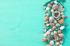 Wooden background with sea shells Stock Photos