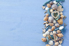 Wooden background with sea shells royalty free stock image