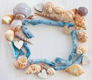 Wooden background with sea shells Stock Photo