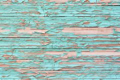 Wooden background with shabby paint. stock photo