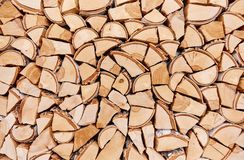 Wooden background of shattered tree trunks Royalty Free Stock Image