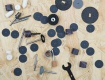 Wooden background. With small oryginal tools and woodrings Royalty Free Stock Images