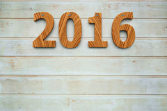 Wooden 2016 background. Three-dimensional rendering of wooden 2016 on the wooden background, represents the new year 2016 Royalty Free Illustration
