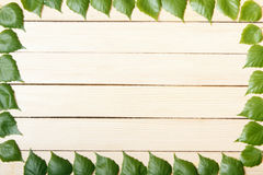 Wooden background, top view, framed with leaves of a tree Stock Images