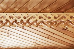 Wooden background of unpainted strips with decorative elements. Horizontally Royalty Free Stock Photo
