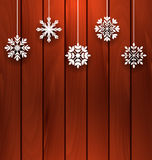 Wooden Background with Variation Snowflakes Royalty Free Stock Photography