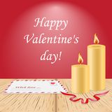 Wooden background,vector card happy Valentine day,sale banner.On the table lies a letter greeting,invitation and decorative stock illustration