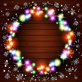 Wooden background with vintage garlands, Vector EPS10, Christmas lights show. Wooden background with vintage garlands, Vector EPS10, Christmas lights art snow Stock Photography