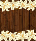 Wooden background with white flowers Stock Photography