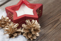 Wooden background with winter snow  and Christmas Decorations on Royalty Free Stock Photos
