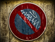 Wooden Background With Prohibition Parking Sign Stock Photo