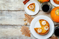 Free Wooden Background With Pumpkin Pies, Pumpkin And Coffee. Autumn Stock Photo - 74259050