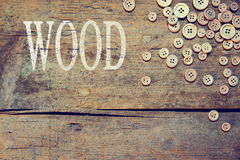 Wooden background with the word wood Stock Images