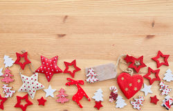 Wooden background with xmas decorations Royalty Free Stock Photos