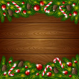 Wooden background and Xmas ornament Royalty Free Stock Image