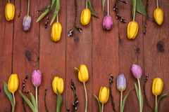 Wooden background with yellow and pink tulips. Brown wooden boardwalk background with yellow and pink tulips Stock Images