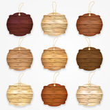Wooden badges collection. Set of various wood stickers, banners, badges. Royalty Free Stock Image