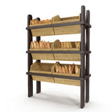 Wooden Bakery Display Shelves on white. 3D illustration, clipping path Royalty Free Stock Photos