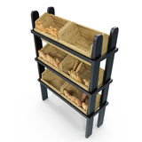 Wooden Bakery Display Shelves on white. 3D illustration, clipping path Royalty Free Stock Images