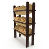 Wooden Bakery Display Shelves on white. 3D illustration, clipping path Stock Photography