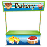 A wooden bakery stall. Illustration of a wooden bakery stall on a white background stock illustration