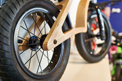 Wooden balance bicycle or run bike Stock Photo