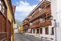 Wooden balconies in Garachico, Tenerife, Canary islands, Spain royalty free stock image