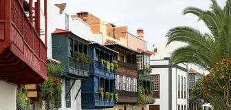 Wooden balconies (La Palma, Canary Islands) - Panorama Royalty Free Stock Photo