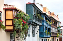 Wooden balconies at La Palma, Canary Islands 02 Royalty Free Stock Photography