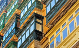 Wooden balconies, Malta. Typical architecture of Malta: wooden green balconies in Valletta Stock Photography
