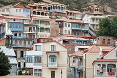 Wooden balconies in Tbilisi. Royalty Free Stock Photos