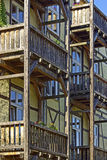 Wooden Balconies and Timber Framed Architecture Stock Photo