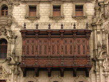 Wooden balcony. At Plaza de Armas, Lima Stock Photos